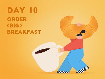 DAY 10 - Order a (big) breakfast takeaway espresso coffe croissant breakfast covid 19 quarantine stay safe stay home design adobe photoshop illustrator character design illustration