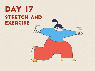 DAY 17 - Stretch and exercise product illustration lunges stretching yoga pose yoga toilet paper quarantine stay safe stay home grain flat graphic design adobe photoshop illustrator character design illustration