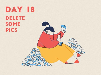 DAY 18 - Delete some pics cleaning online cloud delete photos pictures product illustration design quarantine stay safe stay home flat grain graphic design illustrator character design illustration