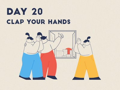 DAY 20 - Clap Your Hands front line product illustration key worker covid 19 thankyou clap hands clapforcarers applause clap quarantine stay safe stay home grain flat graphic design adobe photoshop illustrator character design illustration