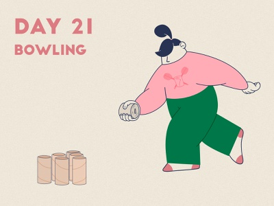 DAY 21 - Toilet paper bowling toilet paper ball bowling pin bowling product illustration covid 19 quarantine stay safe stay home grain flat graphic design adobe photoshop illustrator character design illustration