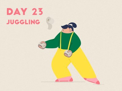 DAY 23 - Learn to Juggle juggling juggle product illustration flat covid 19 grain quarantine stay safe stay home graphic design adobe photoshop illustrator character design illustration