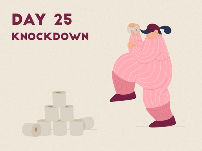 DAY 25 - Knockdown throwing can tin knockdown toiletpaper product illustration covid 19 quarantine stay home stay safe grain flat adobe photoshop illustrator character design illustration