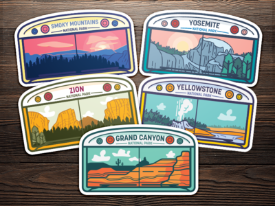 Skoolie National Park Stickers skoolie for sale grand canyon yellowstone zion yosemite smoky mountains illustration graphic design vector stickers national park
