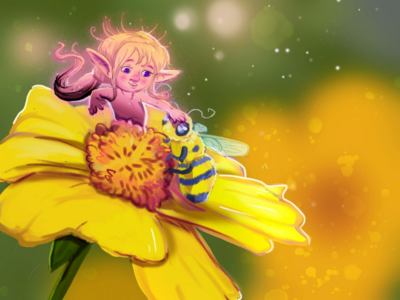 Spring Fairy flower childrens book illustration digital painting photoshop sunflower spring easter