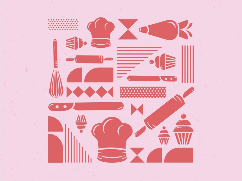 Grace's Bakes Iconography Pattern 1 retro design retro vector illustrator illustration icon design branding