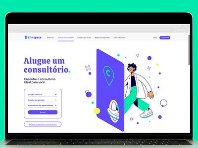 Clinspace website medical healthcare design typography web ui vector startup branding illustration clinspace