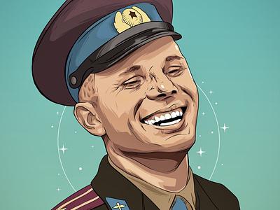 Gagarin иллюстратор illustrator art drawing design рисунок иллюстрация вектор vector illustration