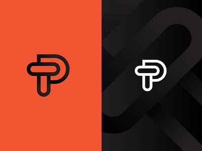 T-P black red design vector graphic icon minimal wip identity logo