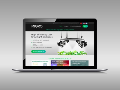 Migro website homepage webdesign website design shop product light led homepage website ui web