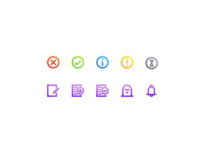 Order status icons notification progress warning info success done error status order
