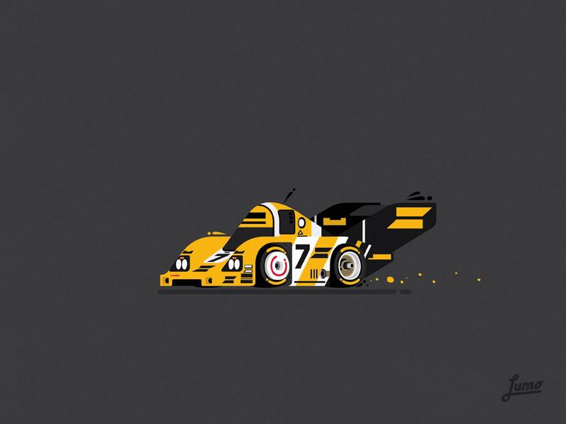 Porsche 956 vectorart vectors race cartoons racecar illustrator 2d flat vector illustration lemans classic 956 porsche