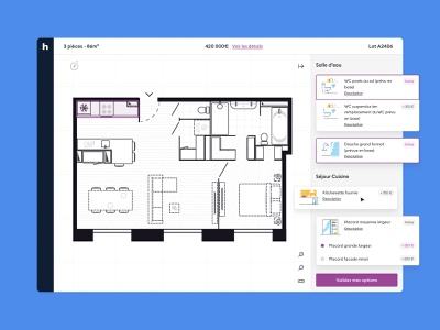 Supplements Picker webdesign house real estate architecture furniture dark mode custom habx product layout 2d plan ux ui