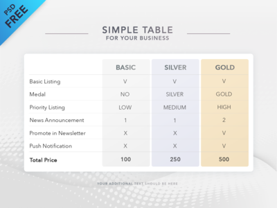 Free Table Template