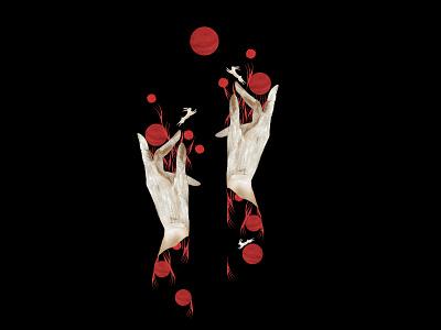 Summer's Gonna Hurt You - hands surreal design placementpattern pattern illustration