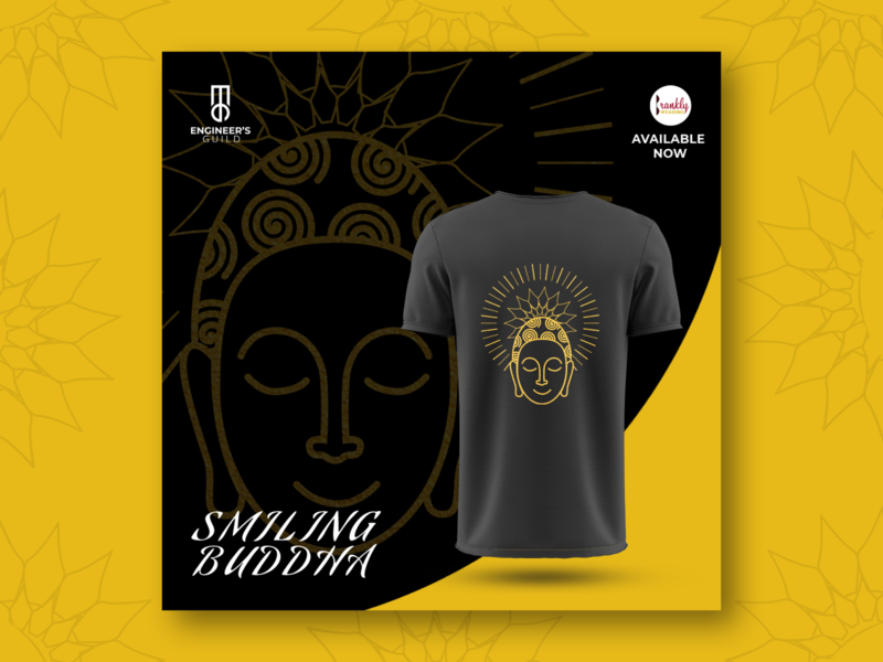 Smiling Buddha poster design for T-shirt minimalistic art minimal line art line artwork design art ad design poster poster artwork poster a day poster design designer buddhism design t-shirt buddha