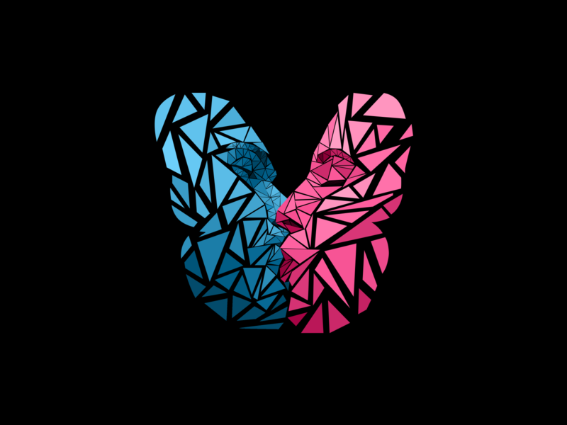 The Two Lovers romance shards blue pink dribble dribbble poster artwork illustration poster design design grafitti graphic design two lovers love