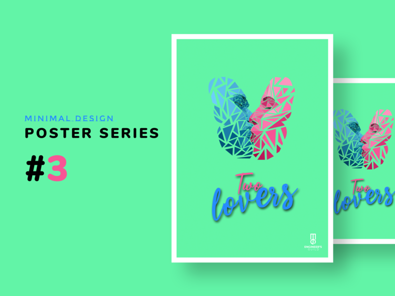 Poster design series - minimal #2 The Two Lovers dribbble romantic romance pink adobe xd adobexd poster design illustration adobe photoshop photoshop minimal poster poster a day poster art graphicdesign graphic design kissing kiss lovers love