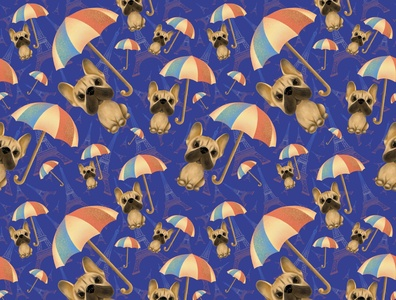 seamless pattern frenchie bulldog