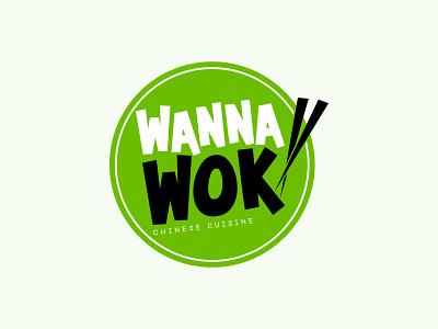 Wanna Wok logo icon flat logo design round logo text logo chinese cuisine logo logo maker graphicdesign brand identity logos logodesign branding