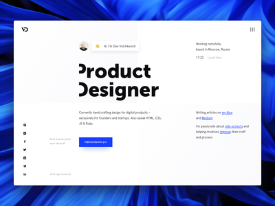 Personal website product ux ui grids design