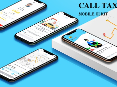 Call taxi logo illustration ui ux design app