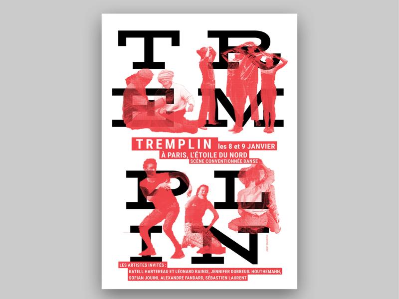 Tremplin illustration danse typographie poster trame affiche