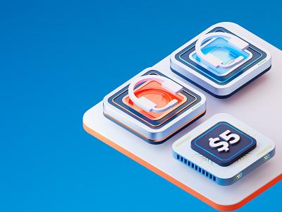 Icons 3D Concept blender graphic design icons render 3d
