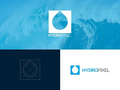 Hydropixel logo pixel water blue branding process