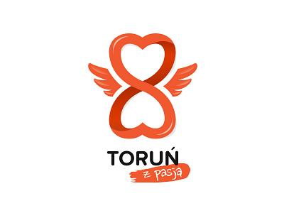 Torun z Pasja logo orange branding brand heart wings logo design