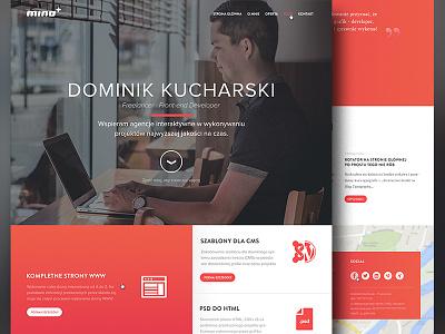 Mino.pro website webdesign freelance flat layout clean dark orange web design site