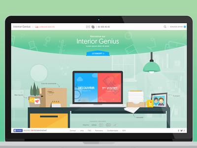 Interior Genius furnitures homepage gradient flat