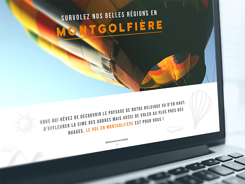 EBC hot air balloon ux ui belgium mockup