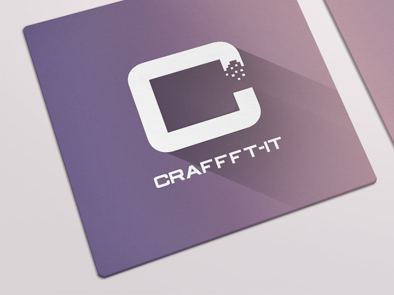 Craffft-IT - Business Card business card long shadow gradient flat logo