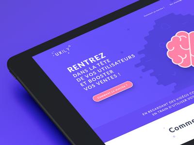 Uxily logo agency clean illustration ui deisgn design mockup web website customer experience belgium ux