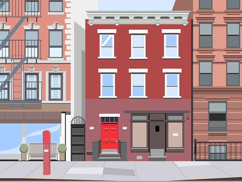 New York Street flat illustration city building street