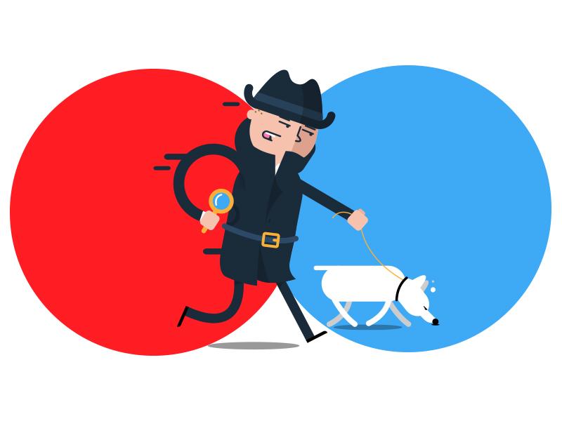 Mr . Detectiv illustrat flat character