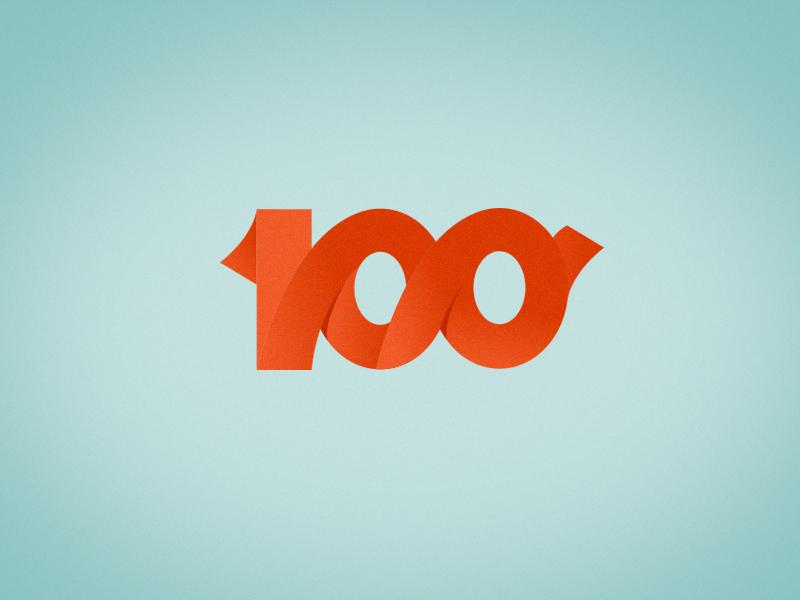 One Hundred illustration interface ios game logo logotype 100 one hundred flat