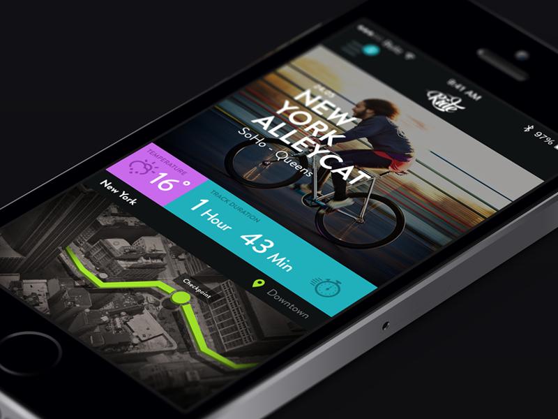 Cycling app ui ux app flat cycle isometric design minimal clean bicycle blur black