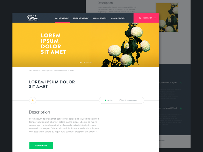 Toolbox ui web clean minimal flower grid homepage layot marketing