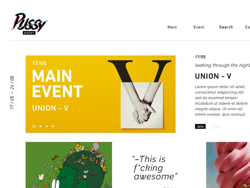 Pussy event ui web clean minimal grid homepage event layout marketing menu white