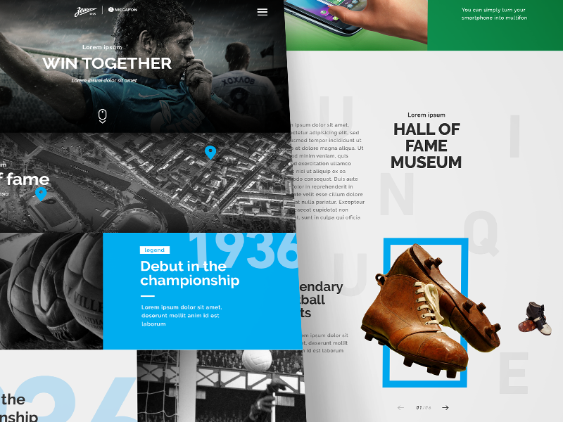 FC Zenit / Megafon ui web clean minimal football grid layot marketing blue history menu typographic
