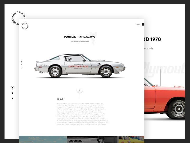 Muscle garage simple white layot homepage grid car minimal clean web ui