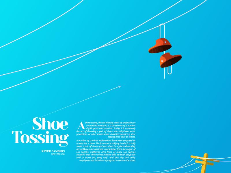 Power lines minimal shoes sky flat illustration