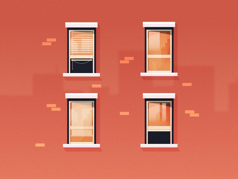 New York Street Refresh reflect street city window building flat illustration
