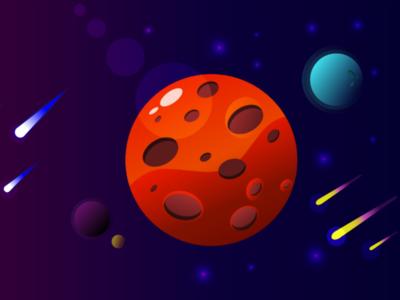 Serpstyle space mars planet adobe illustrator art space
