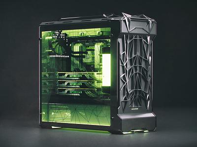 "Phanteks evolve pc case front redesign ""gamer version"" product pc nvidia scifi design case 3d"