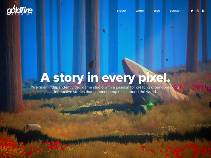 Game Studio Landing Page typography 3d illustration website concept website design responsive game studio forest background website design minimal blue flat game ui