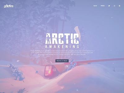 Arctic Awakening Game Website game website minimal background responsive blue flat game ui website design website