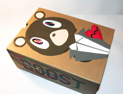 Hand painted Kanye West themed Yeezy box.
